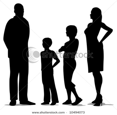of Four Standing, Mother, Father and Two Kids Silhouette.