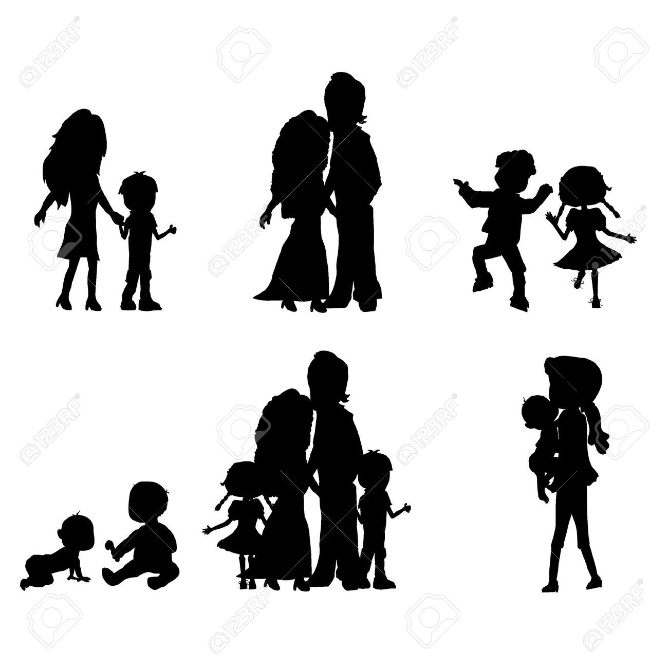 Mother Father Siloute Clipart.