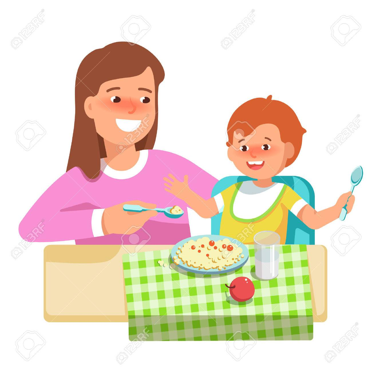 Vector illustration of happy mother feeding her child in flat...