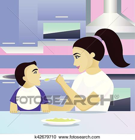 Mother feeding child in kitchen Clipart.