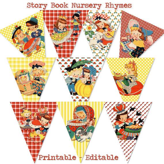 Story Book Banner Mother Goose Nursery Rhymes by hedgehogstudio.