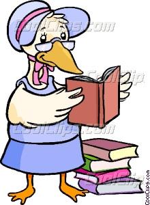 Mother goose reading books Vector Clip art.