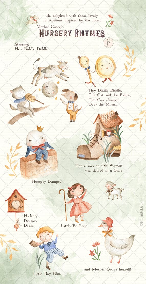 Watercolor Clipart Mother Goose Nursery Rhymes Digital.