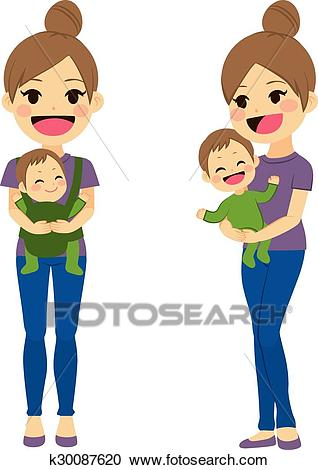 Mother Carrying Baby Clipart.