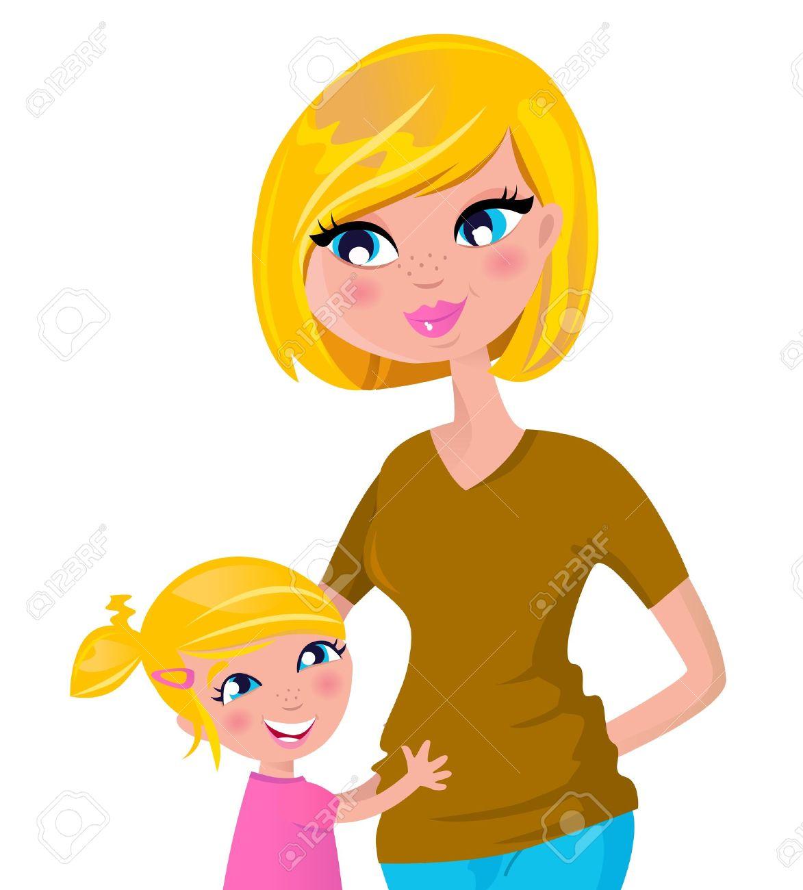 Mother Hugs Her Child. Vector Cartoon Illustration. Royalty Free.