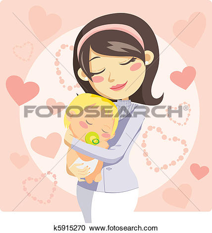 Stock Illustration of A mother and child hugging bul0169.