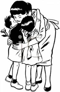 Black and White Clipart Picture of a Mother Hugging Her Children.