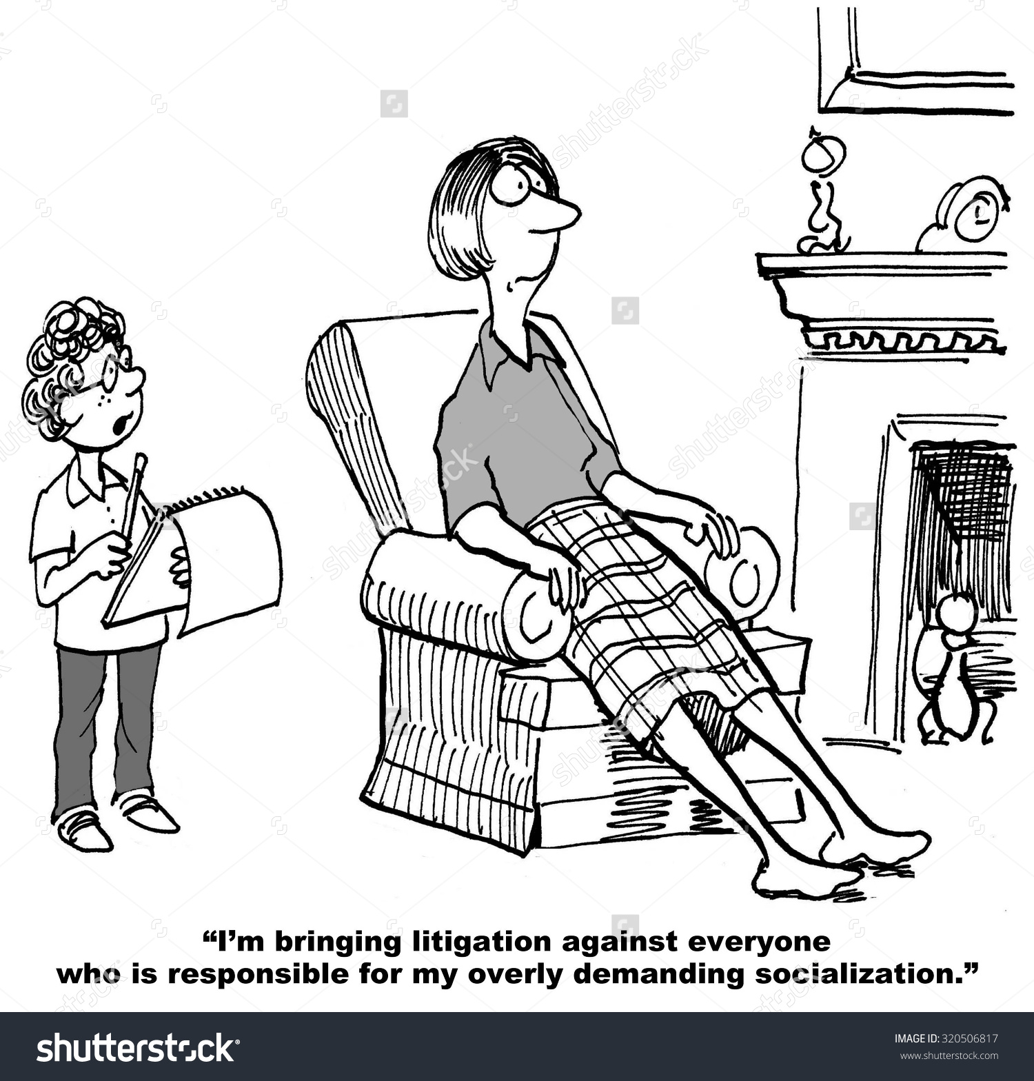 Legal Cartoon Showing Boy Saying Mother Stock Illustration.