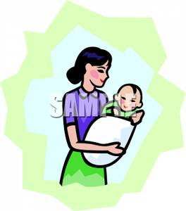 Mother Holding Baby Clipart.