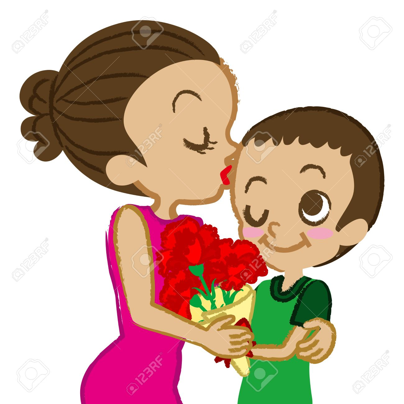 Mother kiss clipart free.