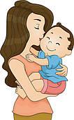 Clipart of Mother Kissing Toddler Boy k13711591.