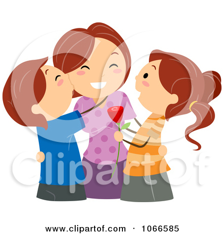 Clipart Pink Mothers Day Text On A Pregnant Womans Belly.
