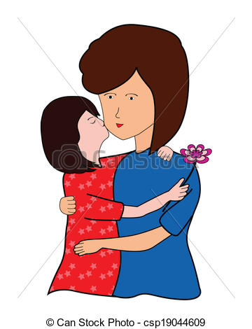 Kiss mom clipart.