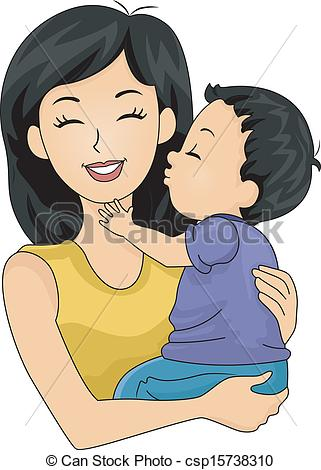 Vector Clip Art of Mom and Son Kiss.