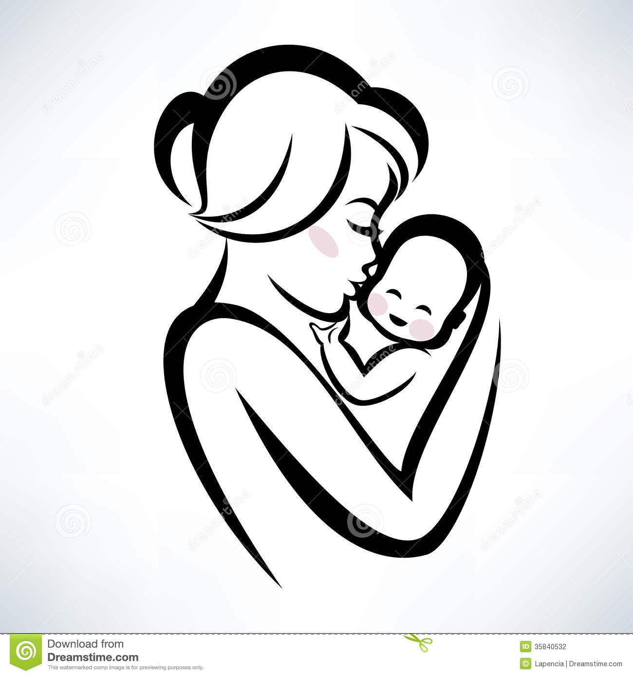 Mother rushing around with baby clipart.