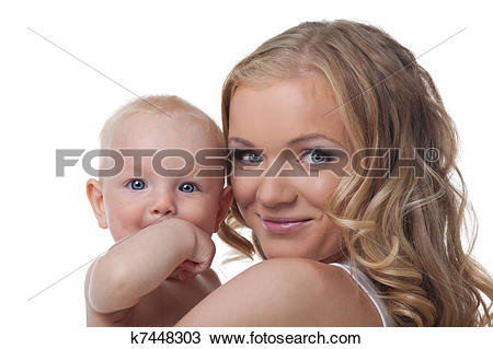 Stock Photo of Beauty blond mother with baby look on camera.