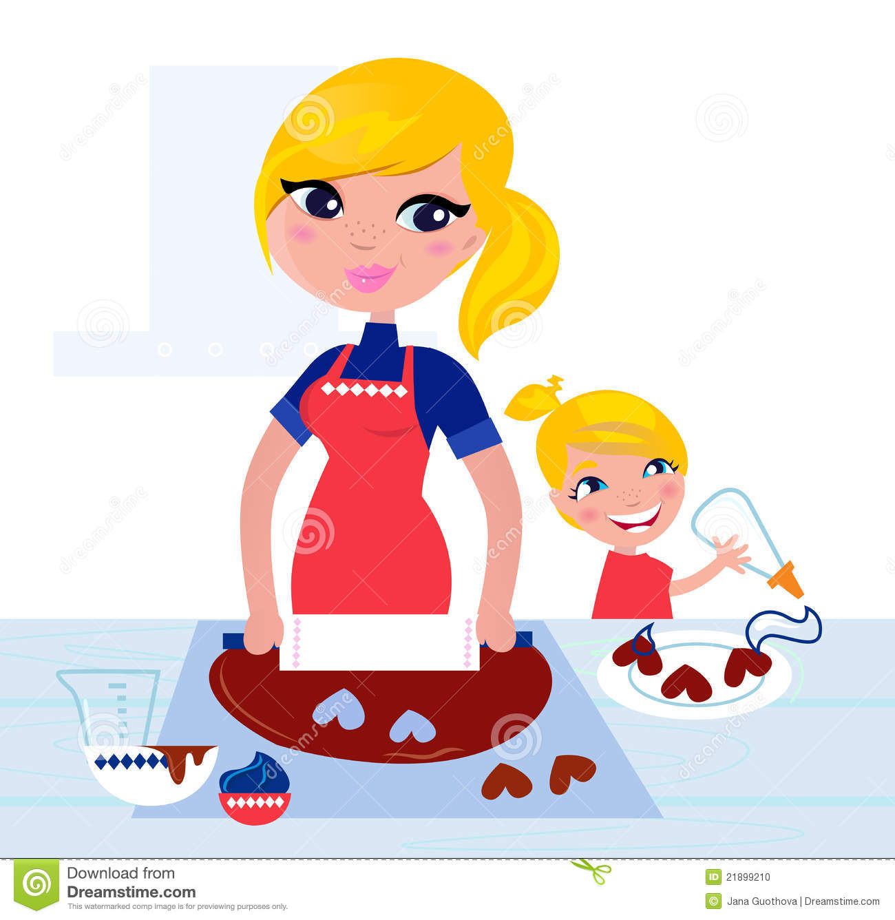 Mom And Daughter Cooking Clipart.