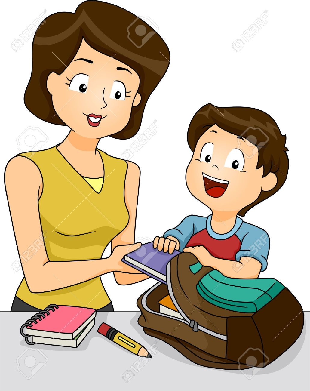 Mother Helping Child Clipart.