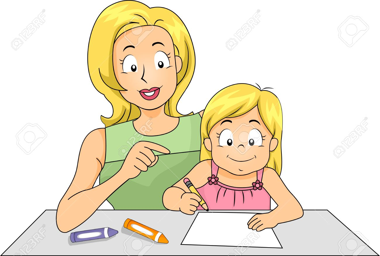 Mother teaching child clipart.