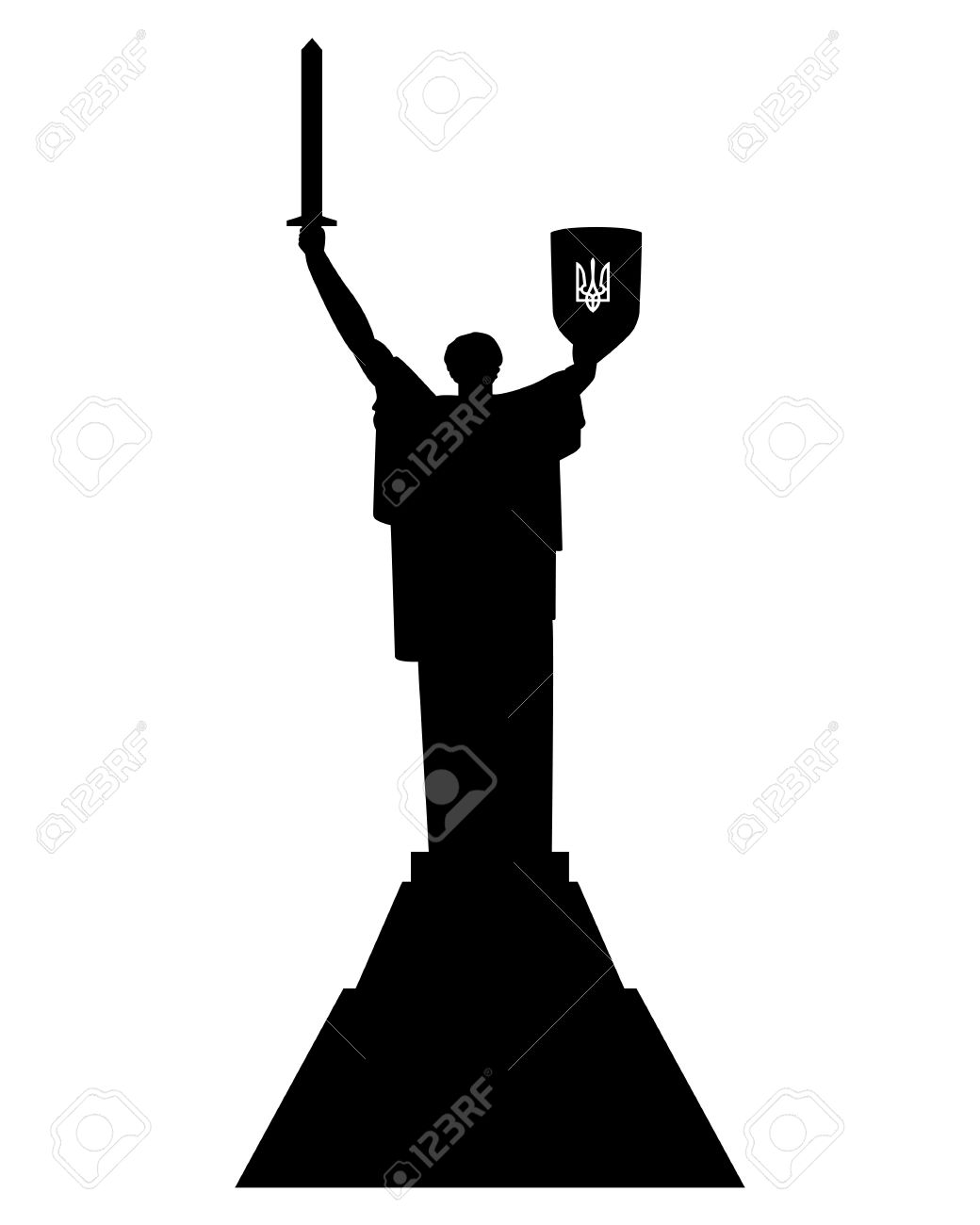 Motherland Monument In Kiev, Ukraine On A White Background Royalty.