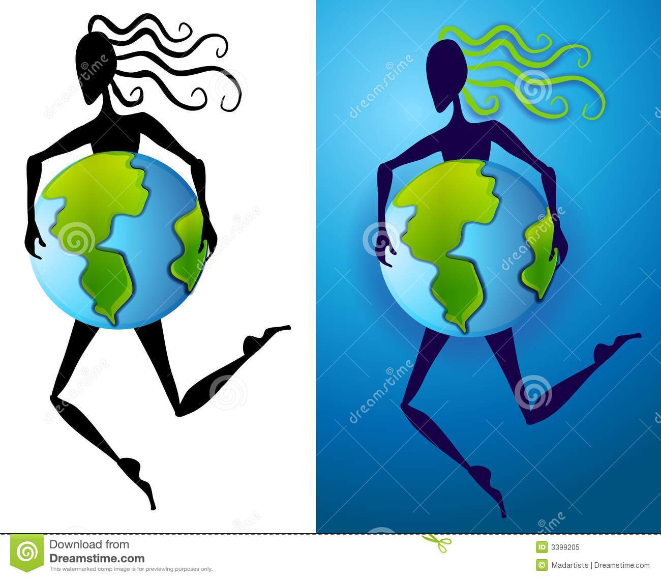 Mother Earth Abstract Figure Stock Illustration.