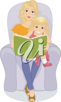 Royalty Free Clipart Image of a Woman Reading a Book to a Child.