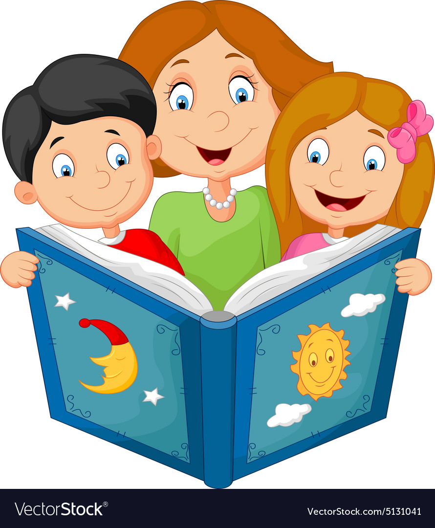 Cartoon mother reading with his children.