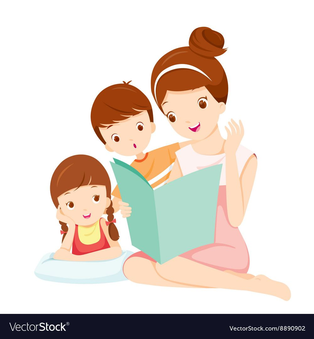 Mother Reading Tale Book To Daughter And Son Vector Image in.