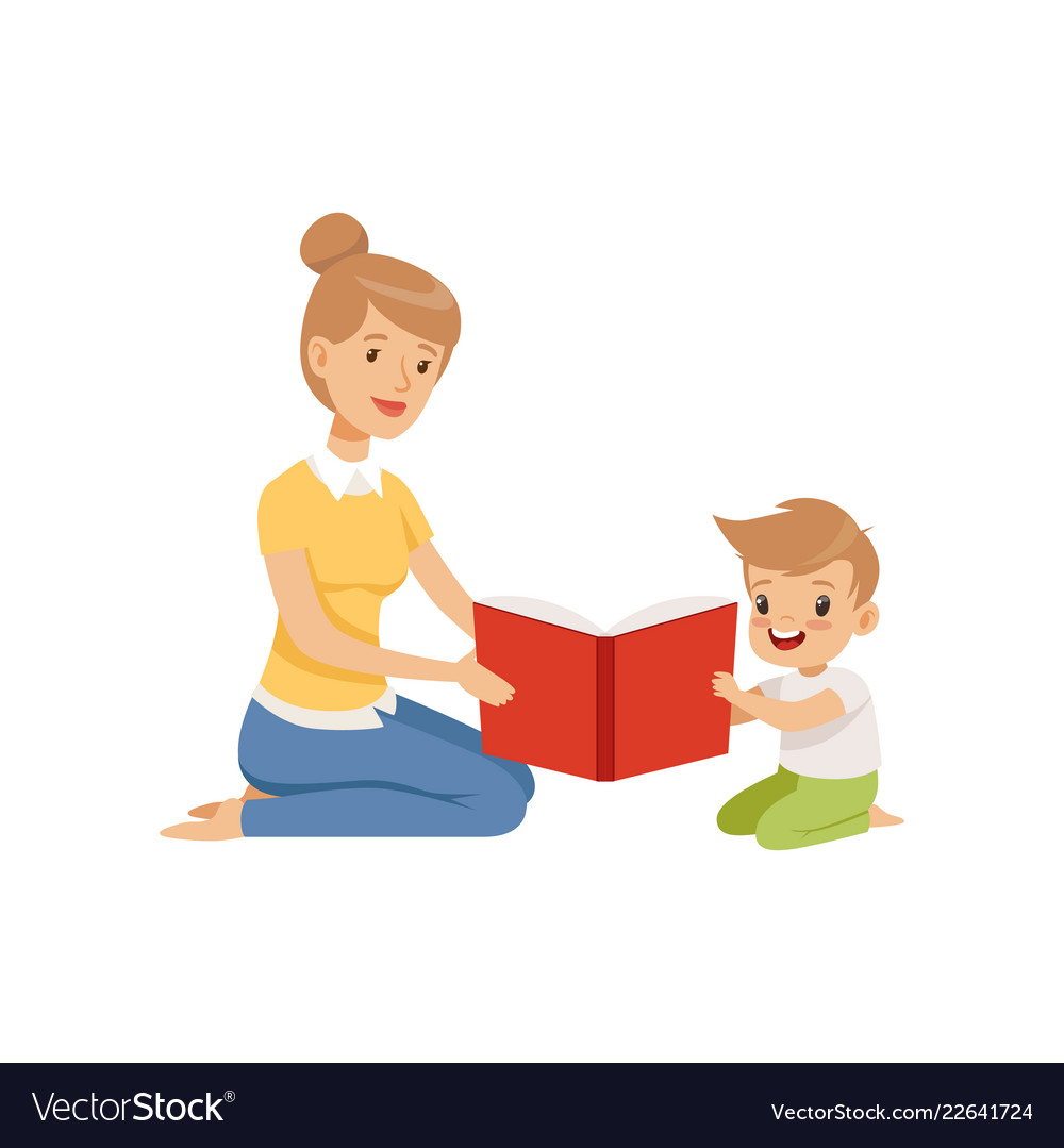 Mother reading a book to her little son.