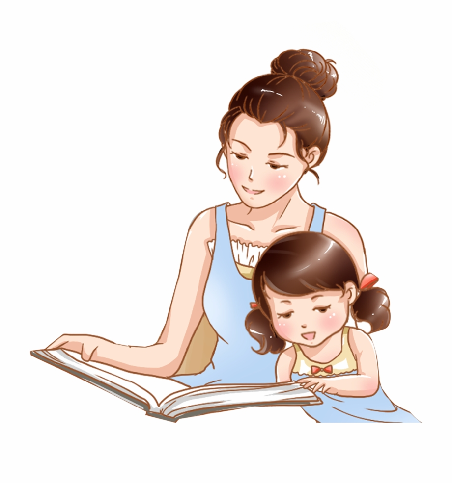 Hand Drawn Cartoon Mother Child Reading Decorative Mother.