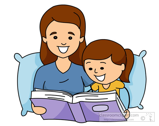 Mom And Child Reading Clipart.