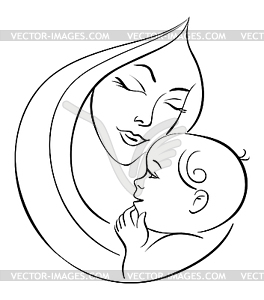 Mother With Baby Hd Clipart. Mother And Baby White Black