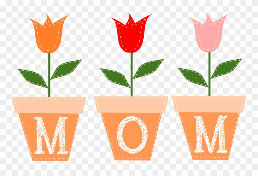 Mom Written On Flower Pots.