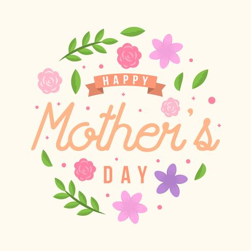 Flat Happy Mothers Day Card Vector.