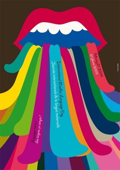Mother Tongue Day poster putting the emphasis on the tongues and.