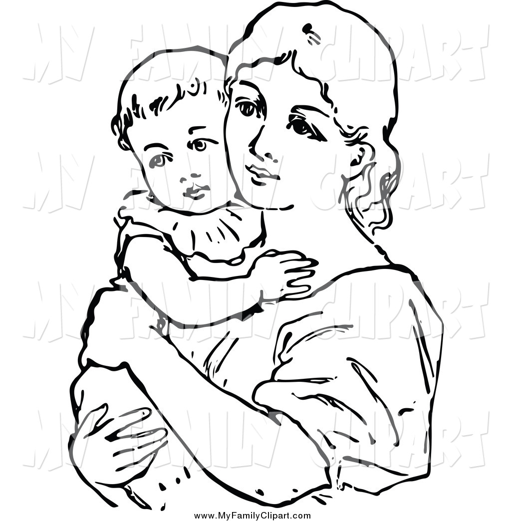 Mother and child clipart black and white.