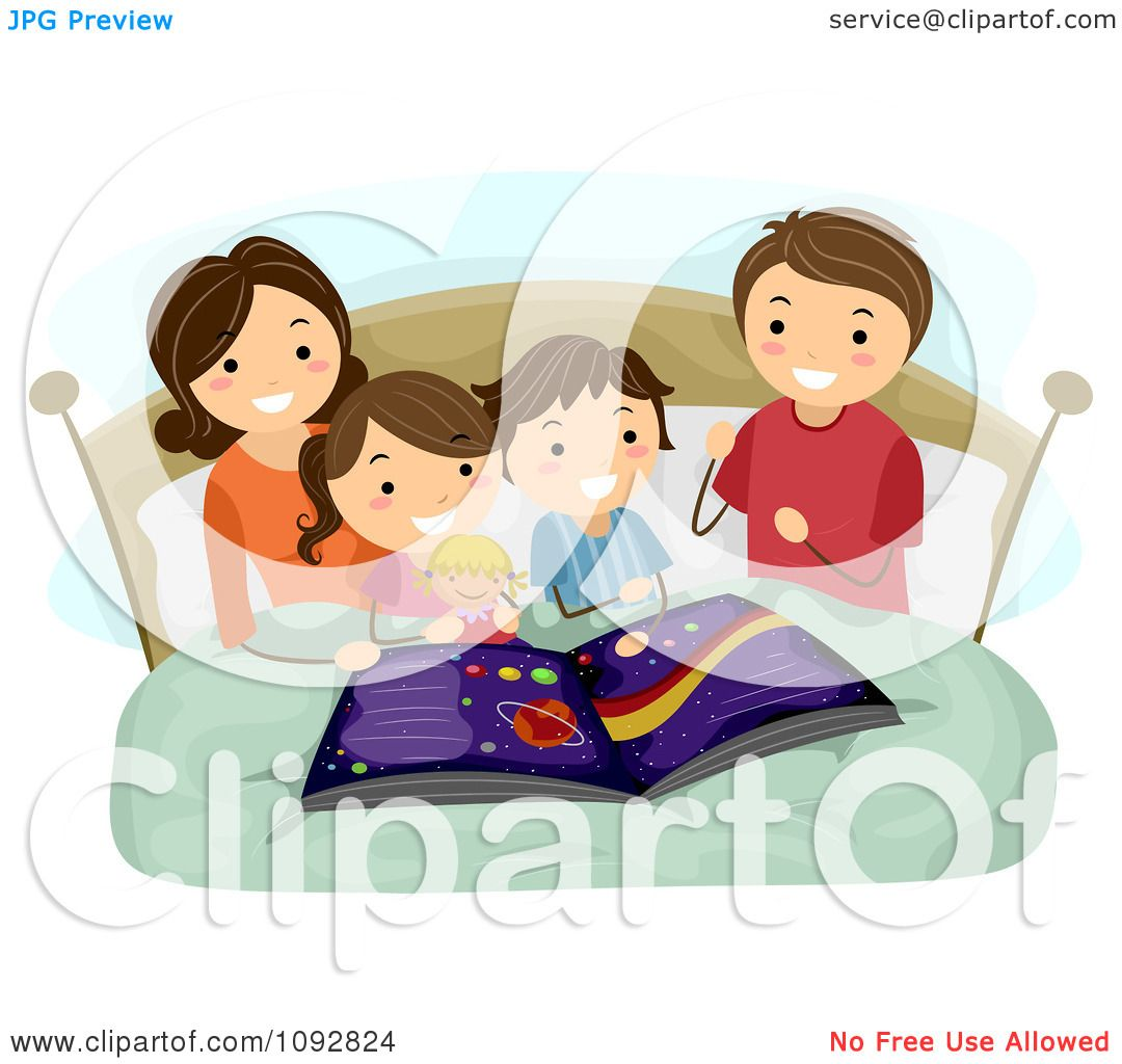 Clipart Mother Reading An Astronomy Book To Her Kids At Bed Time.