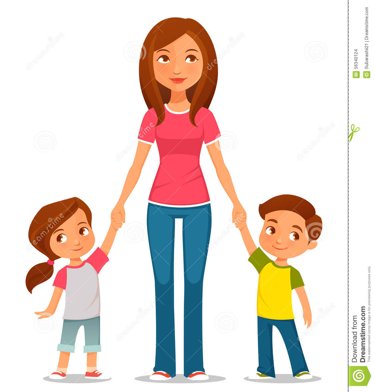 Cartoon Illustration Of Mother With Two Kids Stock Vector.