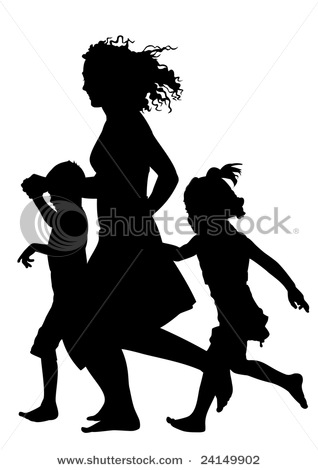 Mother with Children Running and Playing Silhouette Vector.