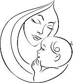 Clip Art of Motherhood set. Silhouettes of mother and baby.