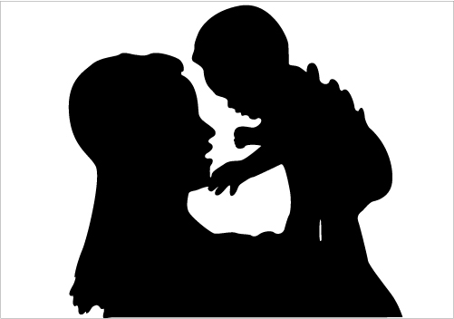 Clip Art Of Mother And Baby Showing Love Clipart.
