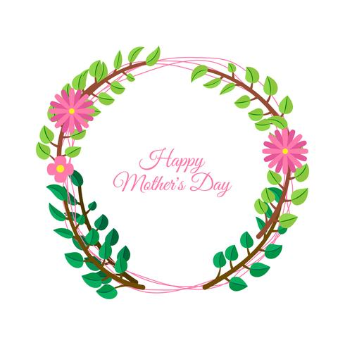 Mother\'s Day on colorful flowers decorated background.