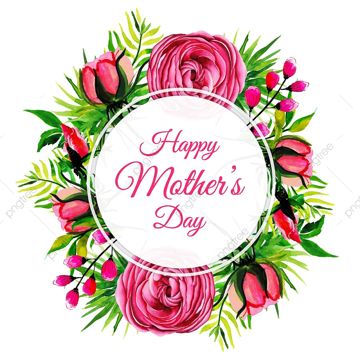 Watercolor Happy Mothers Day Floral Frame Background.