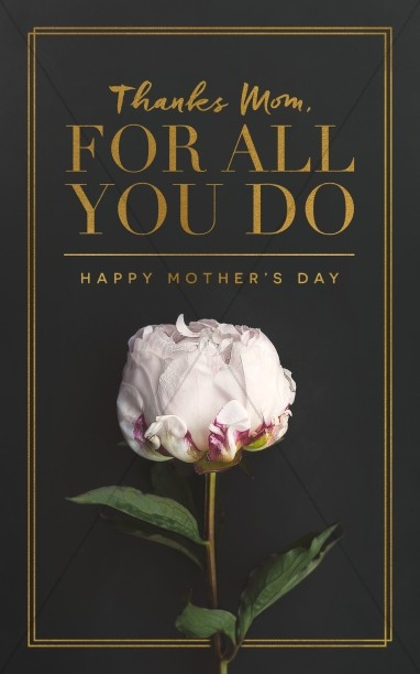 Thanks Mom, For All You Do Mother\'s Day Church Bulletin.