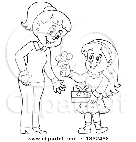 Clipart of a Cartoon Black and White Thoughtful Girl Giving.