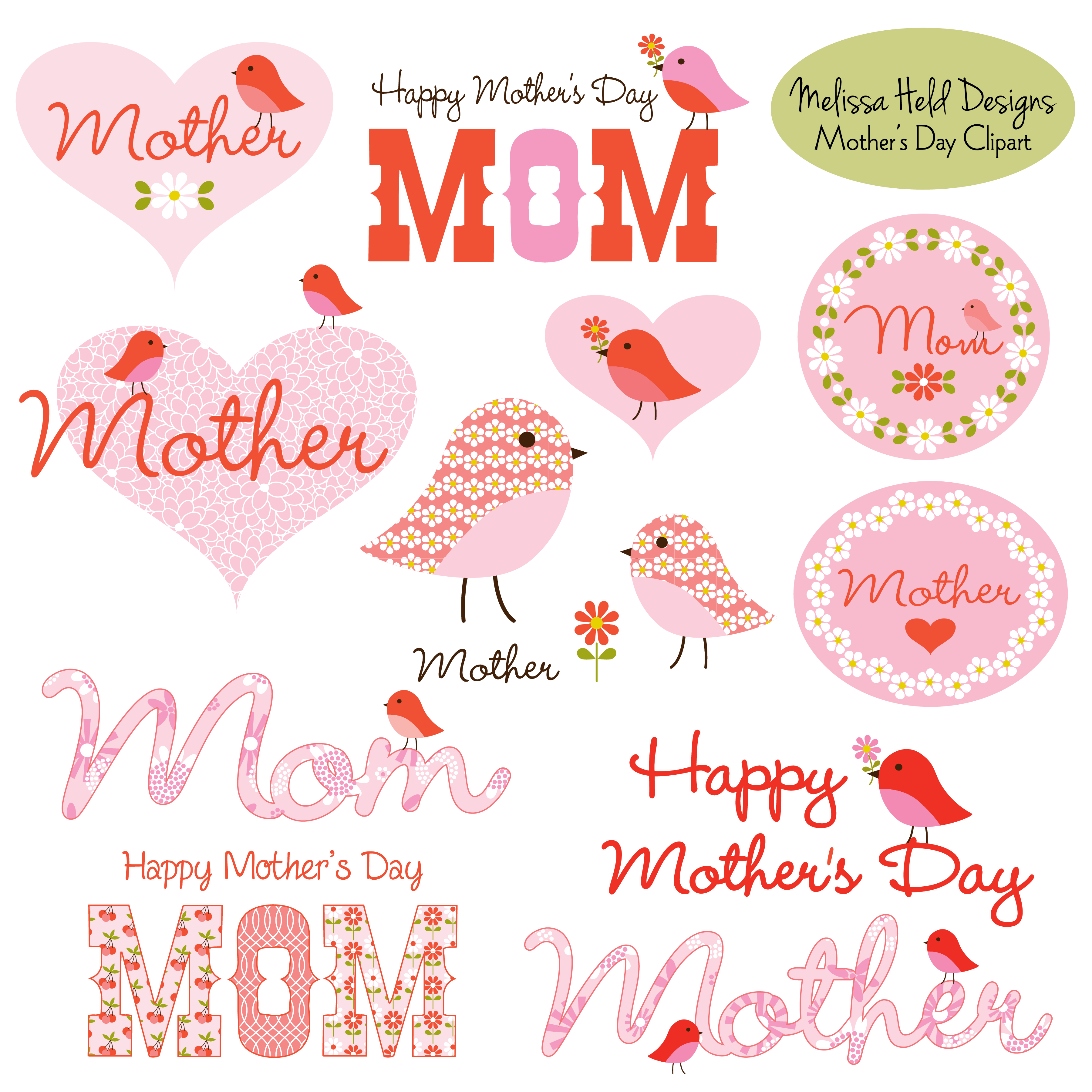 Mother's Day Clipart With Cute Birds.