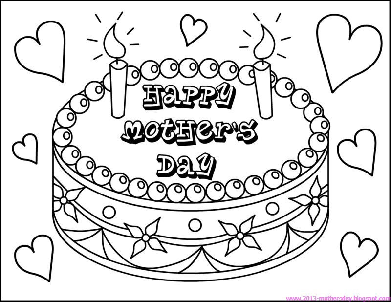 Happy Mothers Day Coloring Page. Link opens to mother's day.