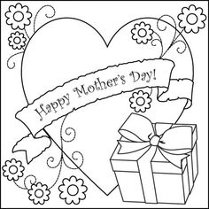 Clipart Mothers Day For Kids To Color.