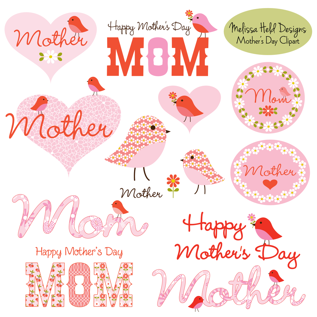 Mother\'s Day Clipart With Cute Birds.
