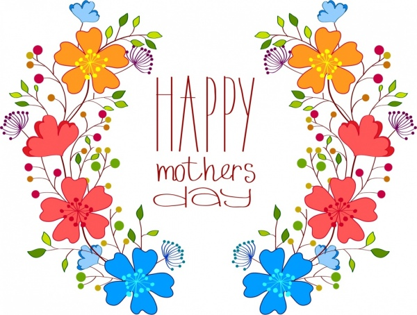 Mother day backdrop colorful flower design handdrawn style.